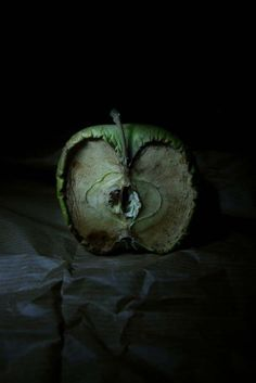 A photographic image, showing what happens when Apples decay. The use of dark background, dark lighting and dark surface that contrasts with the green decaying apple emphasises a sort of death theme in this image. As decay symbolises death. Time Photography, Still Life Photography, Fruit Photography, Texture Photography, The Art Of Photography, Landscape Photography, Backlight Photography, Photography Composition, Object Photography