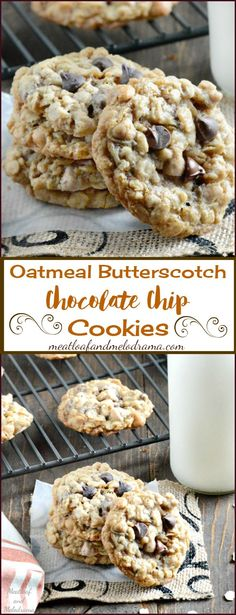 Oatmeal Butterscotch Chocolate Chip Cookies -- Chewy Oatmeal Scotchies with chocolate and butterscotch chips