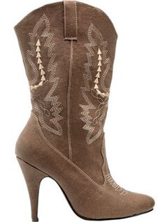 What's Ur Style  4 inch spike heel cowgirl boot with white embroidered stitching and side loops.