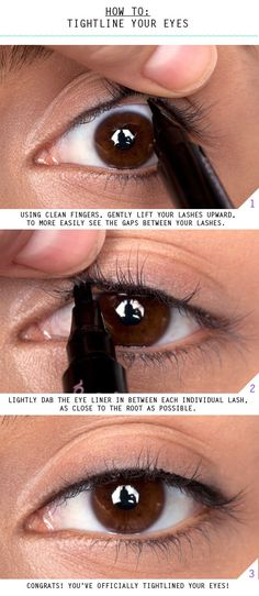 "HOW TO TIGHTLINE EYES  Tightlining your eyes (also known as the ""invisible eye liner"") is a great way to add a subtle definition to your eyes. Instead of lining the skin above your lashes, you line between the lash line. This method is perfect for any casual or fancy occasion, and is super easy to master. Keep reading to learn how to tightline your eyes!"