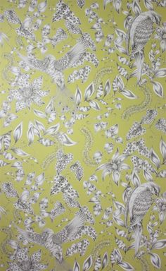 Wallcovering: Exotic birds and foliage printed in monochrome. A variant spelling of the name of the 12th century poet Omar Khayyam. Wide-width roll (68.5cm 27ins). The design KAYYAM was created exclusively for Osborne & little by Emma Shipley.  Osborne & Little: W6495-01