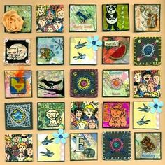 mixed media inchies= beautiful for each child to create their own and then hang on the wall for sense of identity and belonging Mixed Media Canvas, Mixed Media Collage, Collage Art, Altered Books, Inchies, Art Assignments, Atc Cards, Collaborative Art, Collage