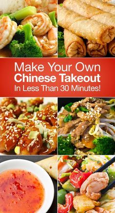Make Your Own Chinese Takeout In Less Than 30 Minutes!  I made the egg rolls and HOLY COW!!! They were every bit as delicious as carry out. This is not a health food recipe, but if you want some Chinese this is it! With frying time it takes closer to an hour to make, but it is still relatively quick. I am going to go eat another one now.