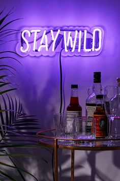 actual light: this neon sign fits perfect into the vibe of the drinks and plant. it makes you feel moody and brings in light to most likely a purposefully dim room Neon Room Decor, Neon Sign Bedroom, Cute Room Decor, Neon Lights Bedroom, Bedroom Signs, Purple Rooms, Purple Walls, Aesthetic Room Decor, Purple Aesthetic