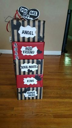 I created this for my boyfriend for our 3rd year anniversary. Each box contains a gift related to the title of the box. He loved it!!! I love being create enough to express it this way!