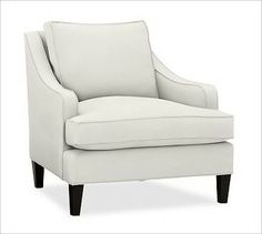 Landon Upholstered Armchair, Box Cushion, Down-Blend Wrap Cushions, Twill White - traditional - pillows - Pottery Barn