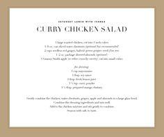 Saturday Lunch Curry Chicken Salad