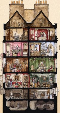 Cross Section of Dennis Severs House by Ben Rea whose first London exhibition A SLICE OF SPITALFIELDS, opens at the Severs Townhouse in Fournier St this Friday June and runs until July. Bd Design, House Illustration, London Illustration, Architecture, Illustrators, Fantasy Art, Cool Art, Concept Art, Medieval