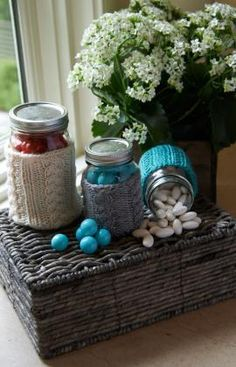 Cabled Jar Cozies Free Knitting Pattern from Red Heart Yarns