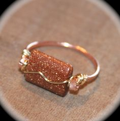 Goldstone Copper Wire Wrapped Ring  Hammered by BirchBarkDesign