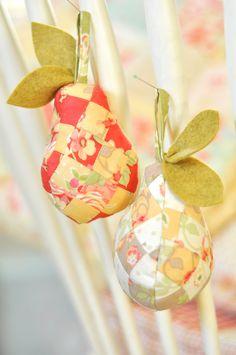 Sewn, Stuffed Pear Christmas Ornament - www.craftsy.com