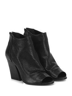 Salvador Ribes - Tronchetto - Donna - Tronchetto open toe in pelle vintage con zip su retro e suola in cuoio. Tacco 95. - NERO - € 139.00