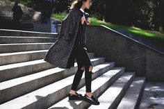 Bloglovin Blog Masculine Inspired Blogger Style Marled Texture Grey Coat Vertical Strip Sweater Black Knee Ripped Jeans Patent Platform Loafers Lucita Via Lucitisima