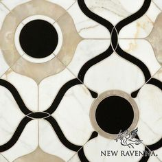 Wesley Petite, a water jet mosaic shown in polished White Onyx, Calacatta and Nero Marquina, is part of the Aurora™ Collection by Sara Baldwin for New Ravenna. Stone Mosaic, Stone Tiles, Floor Patterns, Tile Patterns, Pattern Ideas, Ravenna Mosaics, New Ravenna, Mosaic Backsplash, Backsplash Ideas