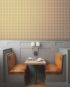 I love a caramel (or mustard) and grey color combo- especially in this little booth situation @tylesco shared in #dswallpaper