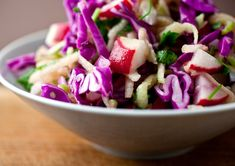 This dish of chopped radishes, cabbage and apples creates a fresh, crunchy and juicy salad for your table. (Photo: Andrew Scrivani for The New York Times)