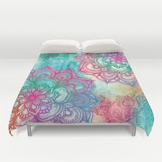 Round+&+Round+the+Rainbow+Duvet+Cover+by+Micklyn+-+$99.00