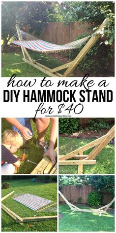 Stand Make your own DIY Hammock Stand for 40 bucks! This is the perfect weekend project!Make your own DIY Hammock Stand for 40 bucks! This is the perfect weekend project! Weekend Projects, Backyard Projects, Diy Wood Projects, Outdoor Projects, Furniture Projects, Home Projects, Diy Furniture Tips, Furniture Making, Diy Backyard Ideas