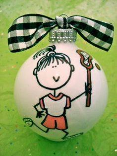 Lacrosse Ornament  - Hand Painted and Personalized