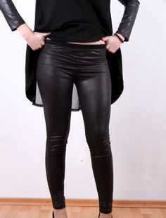 Leather Suede Leggings Black Faux Leather Leggings Yoga by JMSTYLE