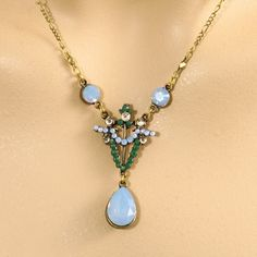 Anne Koplik Art Deco Jewelry - Air Blue & Green Art Deco Necklace These are swaroski crystals. Beautiful. $49.95
