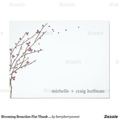 Blooming Branches Flat Thank You Card - Plum