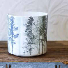 Hubsch Plant Pot With Tree Print: This delicate pot, from Danish designer Hubsch is perfect for a little cactus (or you can use as a candle votive) Made from white porcelain with a subtle tree pattern. Plant not included.