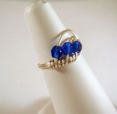Wire Wrapped Ring Silver Plated Cobalt by allearringsandsuppli, $7.95