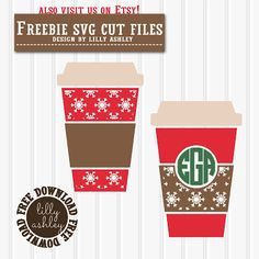 Make it Create by LillyAshley...Freebie Downloads: Free SVG Set snowflake coffee cups great for monograms!