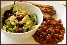 Bean Salad.  Great for pot lucks.