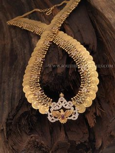 Gold Coin Necklace With Weight Details, Gold Antique Necklace Designs With Weight.