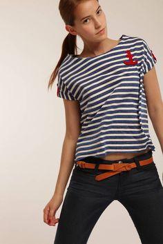 0ac2d2c61d Anchor Motif T Shirt Blue And White