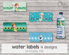 Etiquetas para botella de agua de Frozen Fever imprimibles de DulsStuff en Etsy