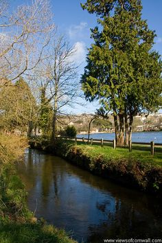 Helston, Cornwall. The river Cober and boating lake.
