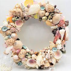 beach decor seashell wreath, coastal decor shell wreath for nautical decor, shell gifts, shell decor Starfish Wreath, Beach Wedding Gifts, Beach Grass, Sea Glass Beach, How To Make Wreaths, Coastal Decor, Sea Shells, Nautical, Floral Wreath