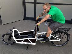 WeLoveCycling editor Adam trying a cargobike. Cargo Bike, Editor, Cycling, Biking, Bicycling, Riding Bikes, Cycling Gear