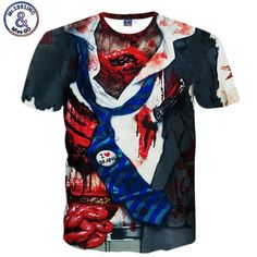 Men's T shirt Horror 3D Print Tshirt Zombie I Love Brains Harajuku Hip Hop Camisetas