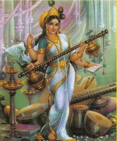 """Maa Saraswati or Devi Sarasvati is the goddess of knowledge, music and the arts. She is the consort of Lord Brahma. Goddess Saraswati is considered to be the """"mother of the Vedas"""""""