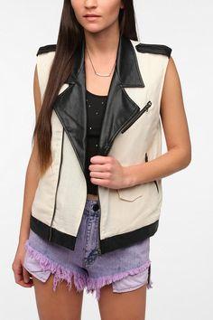 byCORPUS Faux Leather Trim Moto Vest