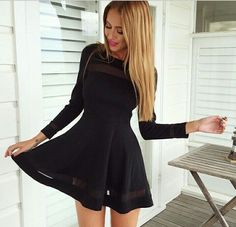Fashion Pure Color Long Sleeve Dress [4901962]