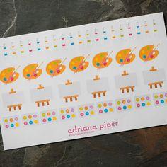 Painting Fun for Erin Condren Life Planner, Plum Paper Planner, Filofax, Kikki K, Calendar or Scrapbook by adrianapiper on Etsy https://www.etsy.com/listing/246471860/painting-fun-for-erin-condren-life