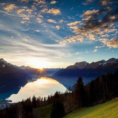 What a beautiful sunset at the lake Brienz.