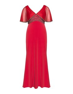 Viviana Embroidered evening gown with train