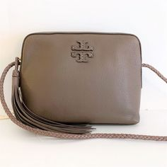Details about New Tory Burch Taylor Camera Bag Crossbody Handba Leather  Silver Maple fa0e6439a0364