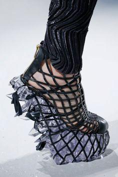 Laser cut leather shoes with crystal heels; innovative footwear design // Iris van Herpen Fall 2015