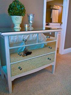 5 Inspiring DIY dresser makeover Ideas including this mirrored dresser made from the bathroom builder's mirror