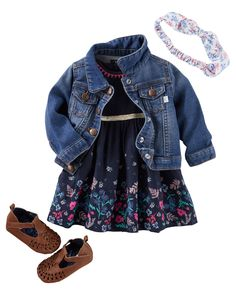 She couldn't get much cuter in a classic jean jacket and sweet dress for spring. A floral bow headwrap tops her off! / She's dressed to impress in a classic jean jacket and sweet dress for spring. Bow bedecked accessories add those final girly touches.