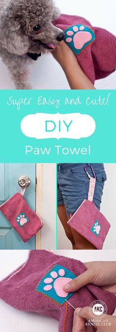 DIY Dog Paw Towel for dog lovers: anyone who owns a dog knows that being outdoors makes them happy. But mud puddles certainly make our lives a little more difficult! Whether your dog loves to play in the mud, or you just want a handy towel to wipe of their paws, this DIY project is easy and adorable!