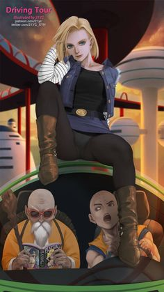 Android Krillin, and Master Roshi Dragon Ball Z, New Dragon, Akira, Cartoon Meaning, Chino Anime, Krillin And 18, Fanart, Android 18, Adult Cartoons
