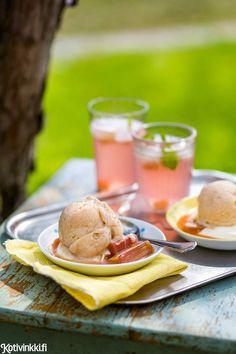 Raparperisorbetti | Kotivinkki Beverages, Drinks, Sorbet, Popsicles, Food Styling, Food And Drink, Ice Cream, Baking, Breakfast